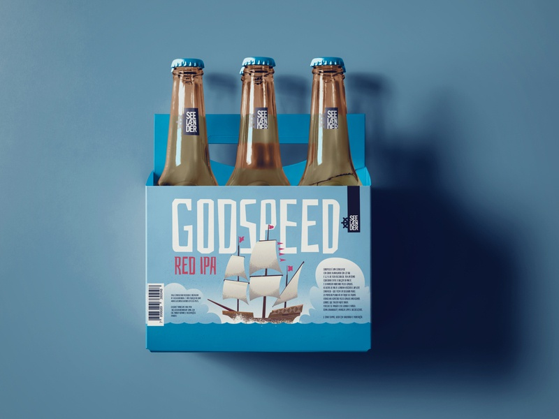 Godspeed Red IPA vector illustration midcentury nautical ship ipa boat packaging package bottle sixpack beer