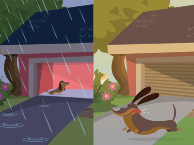English for kids midcentury character cartoon vector kids book children garage house pet modern midcentury flat illustration weather dog opposites