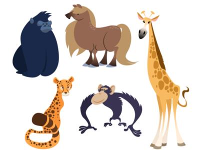 Buncha animals texture flat illustration character design character midcentury vector cartoon wildlife cheetah giraffe pony chimpanzee gorilla