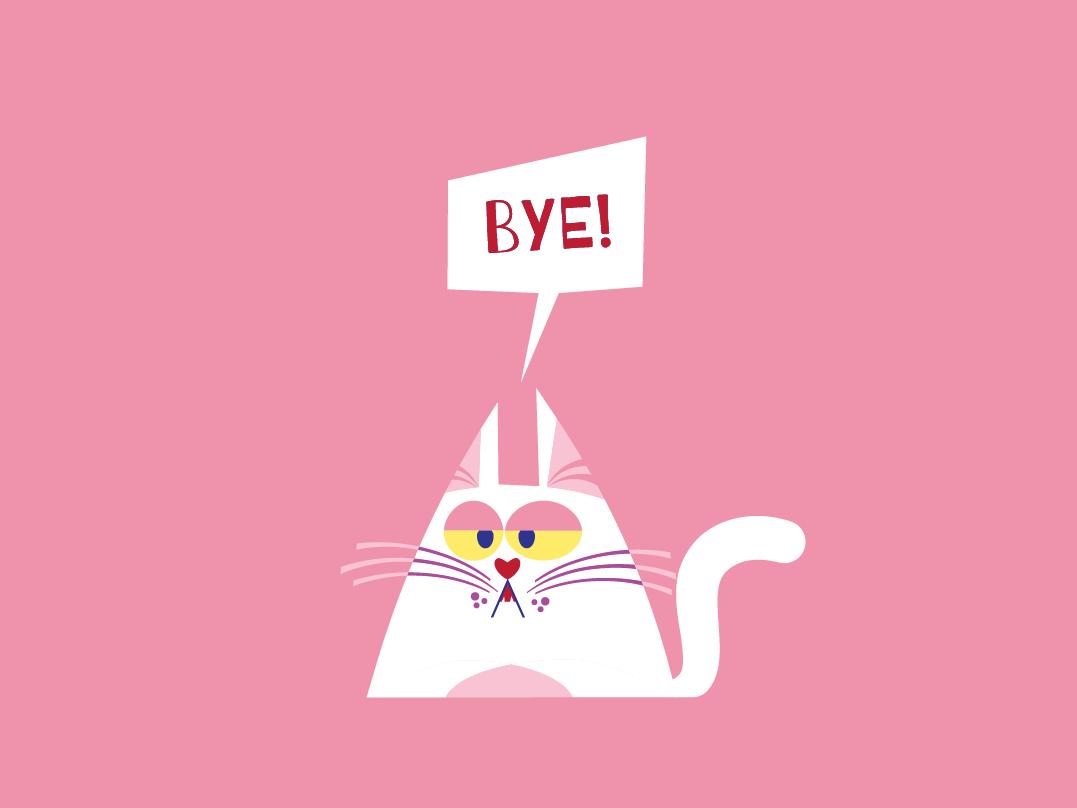 Cat pet cartoon illustration character design character flat vector pink bye gato cat