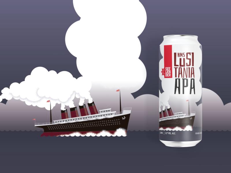 HMS Lusitania branding flat illustration logo vector sea boat ship beer label beer can brewery beer