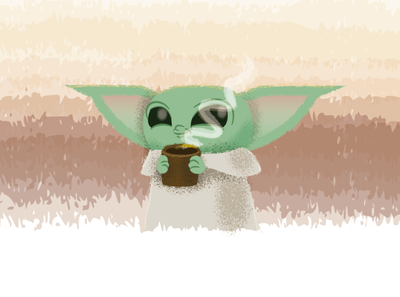 Baby Yoda starwars character design character cartoon vector illustration