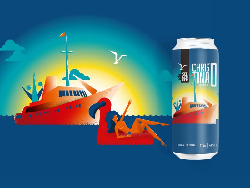 Christina'O Summer Ale illustration sunset floater flamingo summer sea yacht label can beer ale