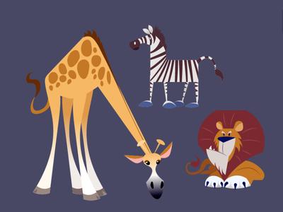 African Wildlife midcentury character design vector animals wildlife lion giraffe zebra