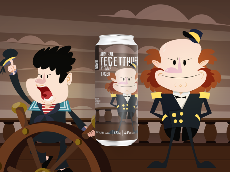 Admiral Tefetthoff Vienna Lager character design character cartoon illustration flat vector beer label beer can beer