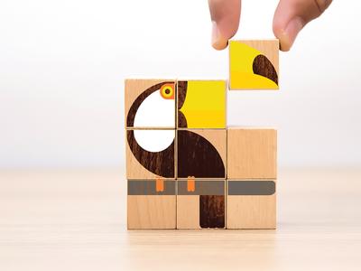 Build a Toucan wildlife animal wood block bird flat illustration vector wooden block toy wood