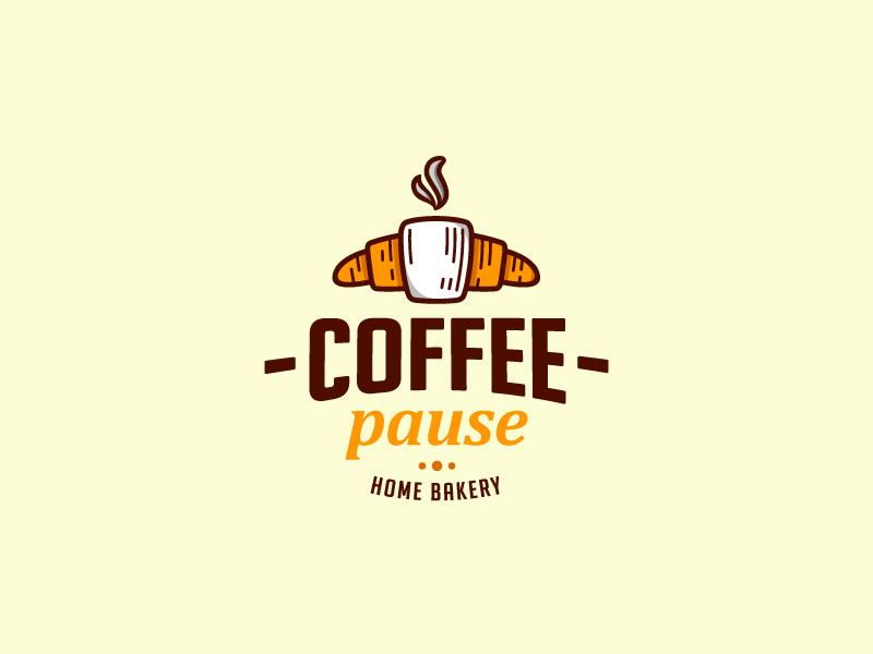 Coffee Pause cup croissant cafe brand design horeca coffee bakery logo