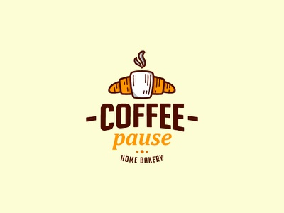 Coffee Pause cup croissant cafe brand design horeca coffee bakery logo