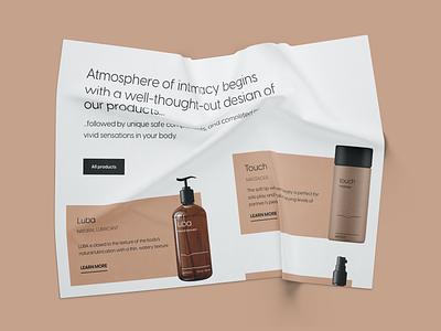 Sensin products intimacy massage oil card shop design ui flat
