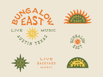 Bungalow East typography branding bungalow east star logo illustration sun