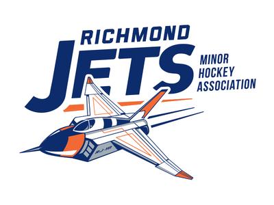 Richmond Jets Logo canada ice hockey custom typography sports minor hockey avro arrow jet hockey logo