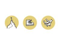 Dog Walking Icons icons logos branding hiking walking dog