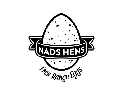 Nads Hens chicken egg eggs farm country outdoors ribbon retro free range organic logo branding carton chicks poultry
