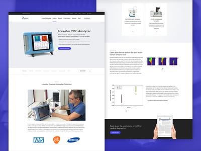 Owlstone Medical website diagnostics product page research cancer medicine medical life science web design website