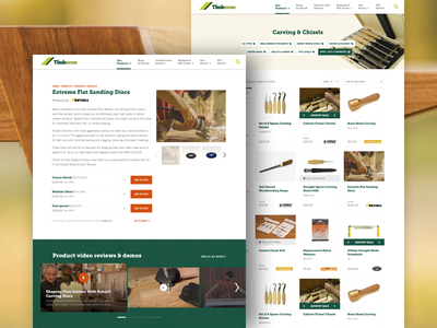Timbecon redesign for Clue Design tools crafts woodworking wood product detail product list ux ui web design e-commerce