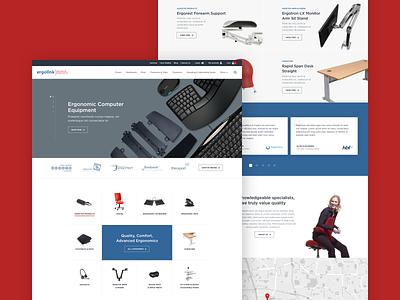 Ergolink UX UI design furniture blue red ergonomics ecommerce ui web design