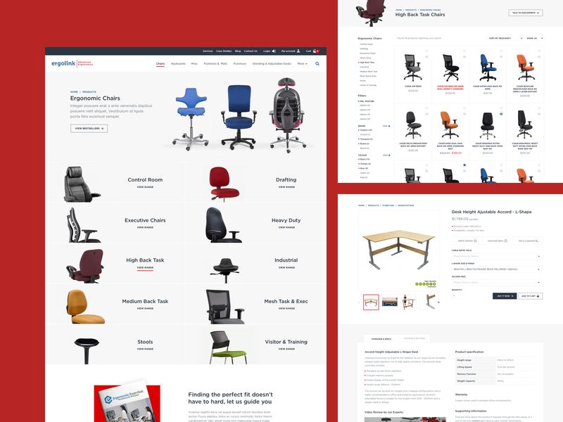 Ergolink UX/UI design online shopping furniture ergonomics ecommence ui  ux ui web design