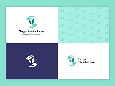 Sage Plantations visual identity rotation natural nutrition motions hands leaf pattern logo branding