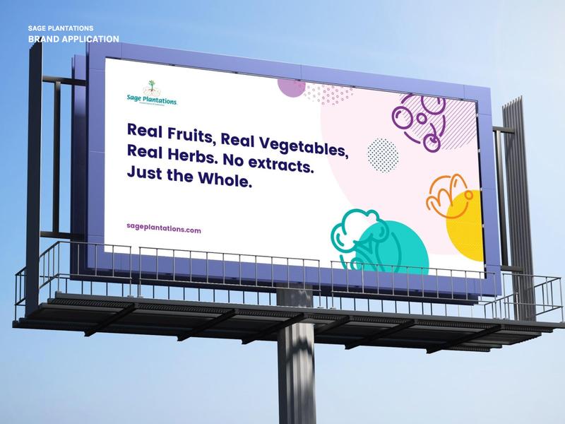 Sage Plantations Brand application shapes icons vector art supplements natural nutrition billboard mockup