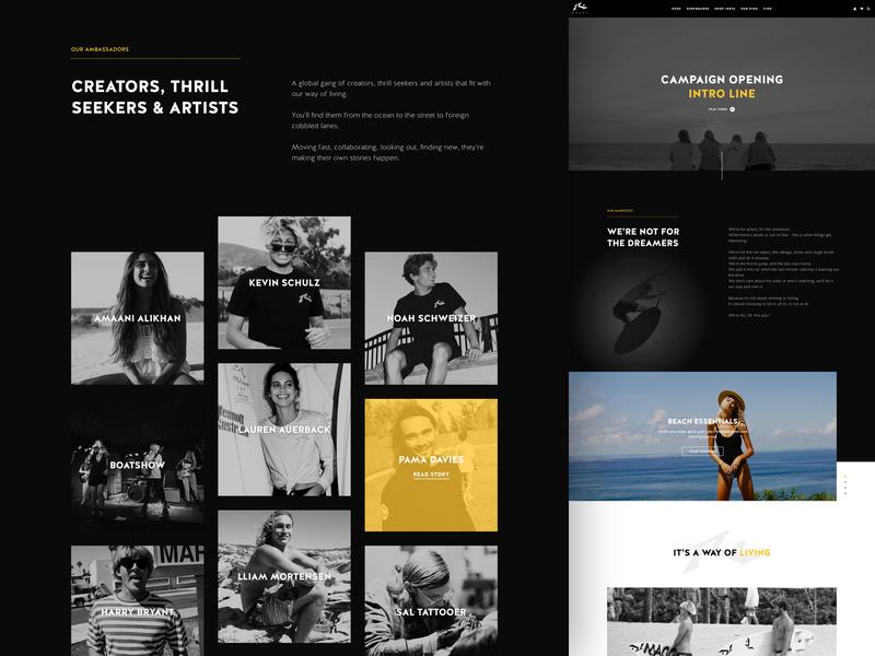 Rusty UX/UI design magento australia surfing activewear ecommerce landingpage marketing campaign ui ui ux webdesign website