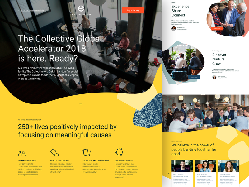 The Collective Foundation UX/UI entrepreneur co-living ux design ui web design landing page onepager