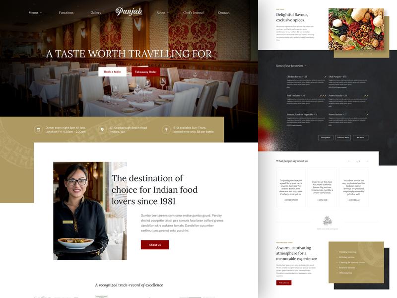 UX/UI design for Punjab Indian Restaurant restaurant indian foodie wordpress homepage landingpage ui ux web design