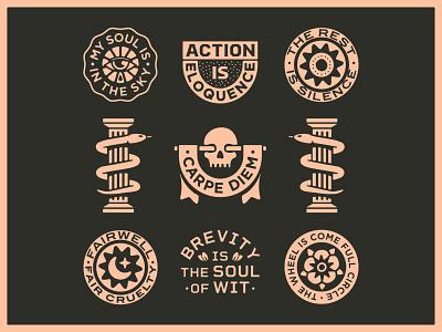 Warmups with Shakespeare III shakespeare skull snake marks portfolio lockup art design dribbble badge identity typography logo graphic design branding illustration