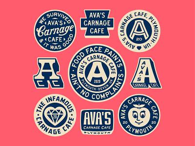 Ava's Carnage Cafe II portfolio patch baby art design dribbble badge identity typography logo graphic design branding illustration