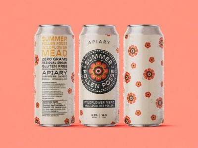 Summer Pollen Posse Can flowers drink can label design packaging packaging design art design dribbble badge identity typography logo graphic design branding illustration
