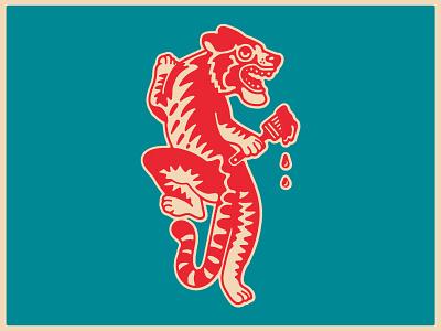 Tired Tiger Paint Store mascot tiger drawing art design dribbble badge logo identity graphic design branding illustration