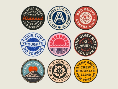 Badges, badges, badges... mascot patch art design dribbble badge identity typography logo graphic design branding illustration