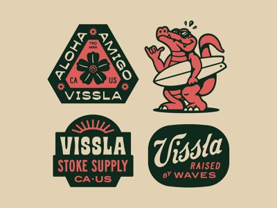 Vissla Badges surf vector design badge identity typography logo branding graphic design illustration