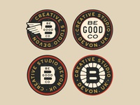 Be Good Co badges and stamps