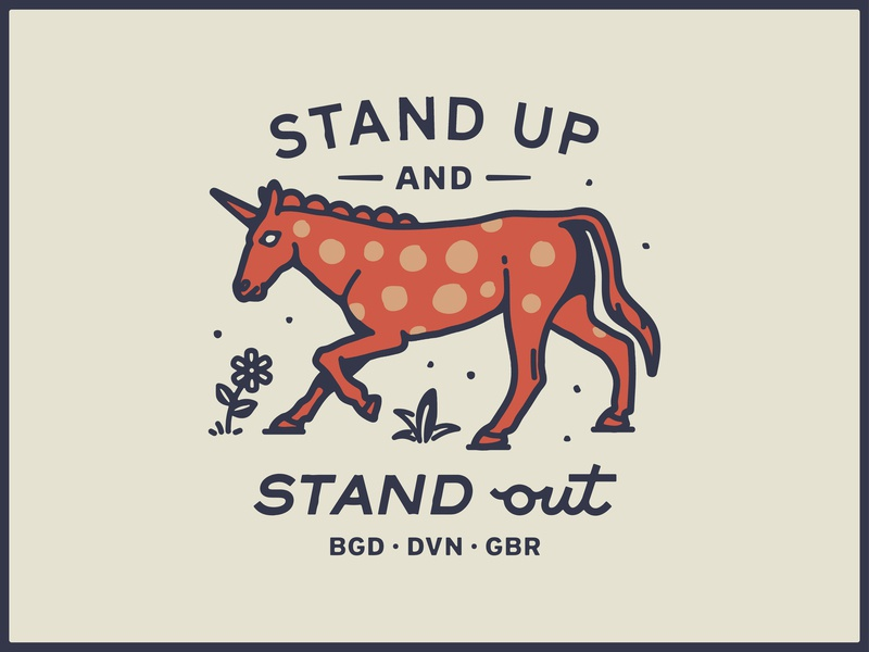 Stand out. vector unicorn brand drawing handdrawn portfolio art lockup design marks dribbble badge identity typography graphic design logo illustration branding