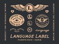 Language Label Charity Design assets