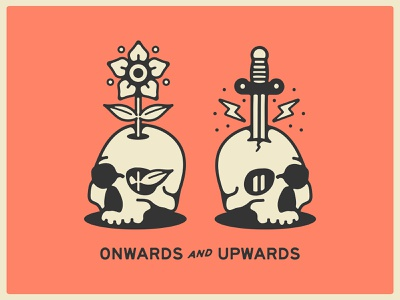 Onwards & Upwards skull drawing handdrawn portfolio art lockup design marks dribbble badge identity typography logo graphic design branding illustration