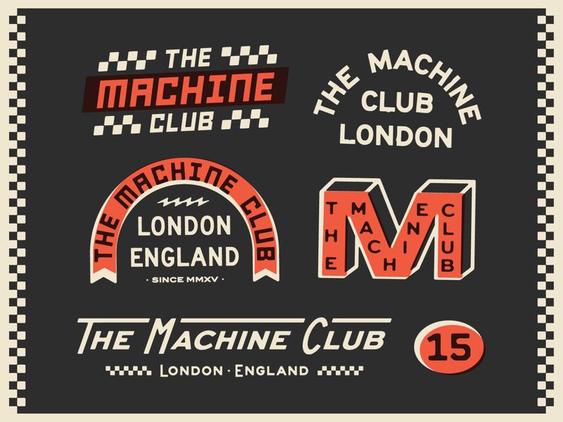 The Machine Club art apparel racing vintage lockup design dribbble badge identity typography logo graphic design branding illustration