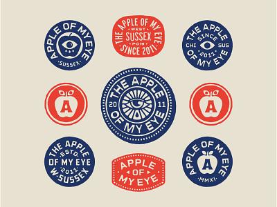Apple Of My Eye II vector portfolio apparel marks eye apple hand drawn lock up art lockup design dribbble badge identity typography logo graphic design branding illustration