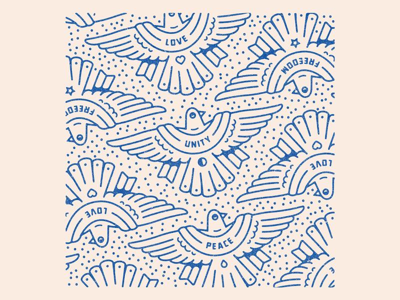 Birdies pattern peace love birds badge art portfolio hand drawn drawing design dribbble logo graphic design branding illustration