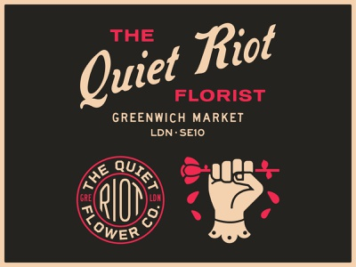 The Quiet Riot Florist flowers portfolio lockup art design dribbble badge identity typography logo graphic design branding illustration