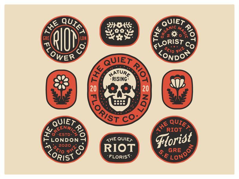 Quiet Riot Badges flowers skull portfolio lockup art design dribbble badge identity typography logo graphic design branding illustration