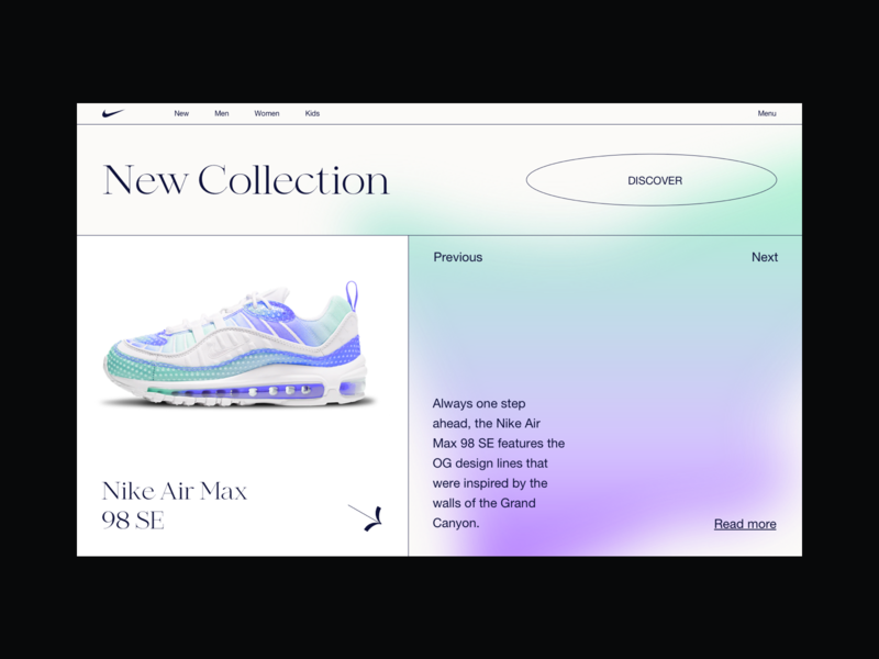 Nike | UI Design concept blur blurred product landing buy shopping cart color gradient shop store nike web design webdesign