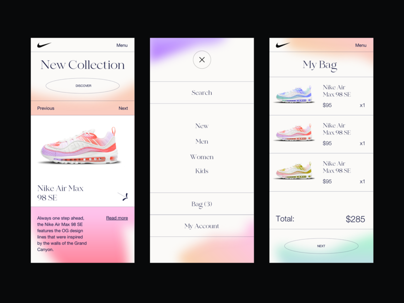 Nike | UI Mobile Version cart checkout shopping cart buy color gradient style shop mob responsive mobile app mobile