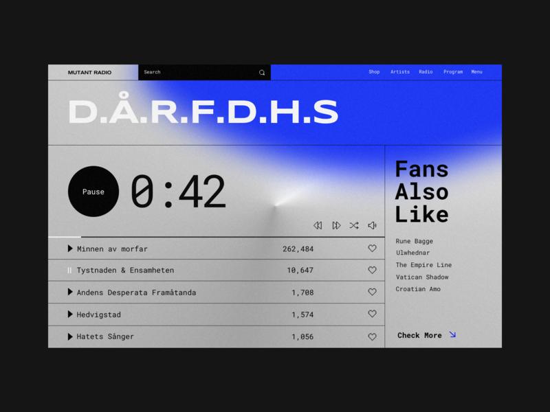 Mutant Radio gradient blurred blur brutalism web boldmonkey sound pause music player listern player webdesigns webdesign dark music