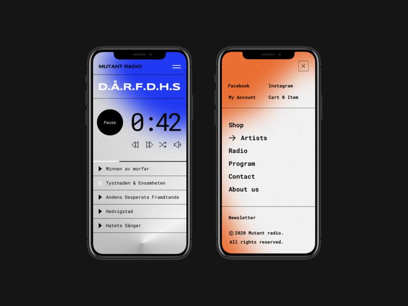 Mutant Radio | Responsive gradient blurred blur mobile app color georgia boldmonkey play listen music radio mobile design mobile