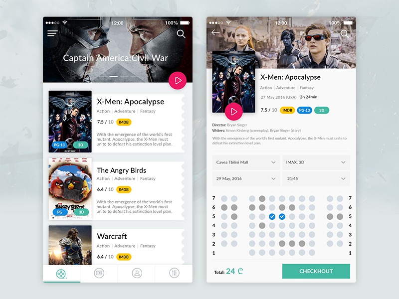 Cinema App film ticket select mobile ios movie cinema application app