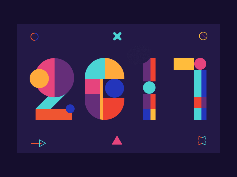 Happy New Year ! 2017 ui colour color geometric new year number