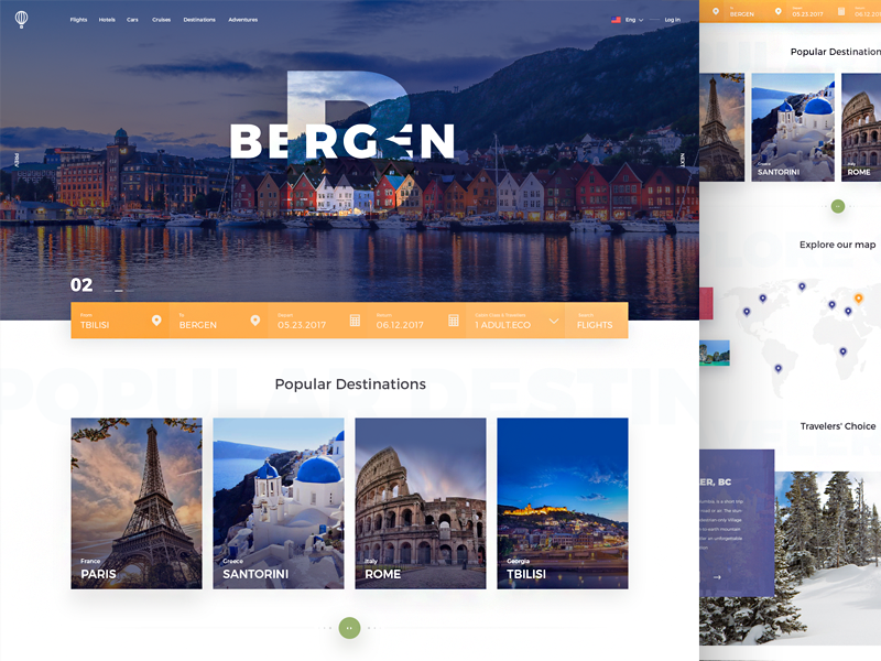 Travel color ux ui main flight clean booking travel inspiration landing
