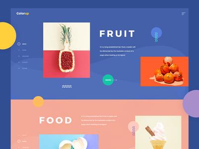 Mixing Color fruit food clean landing geometric ux ui pallete inspiration colour color