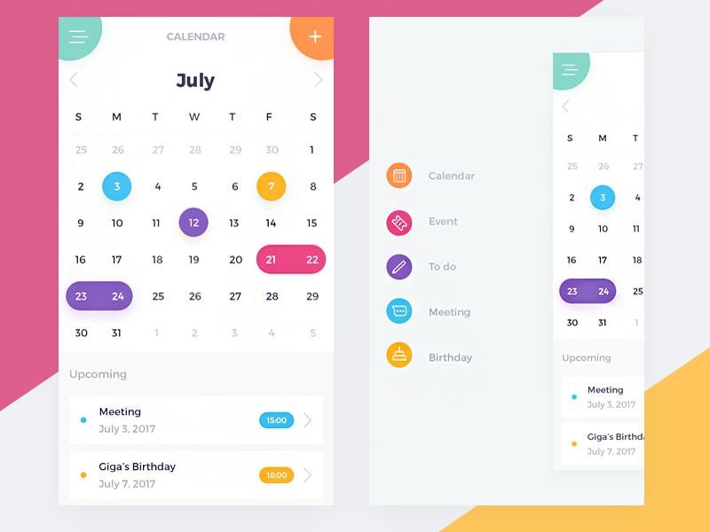 Calendar UI designer tamarashvili giga colour reminder to do mobile ios calendar color event app